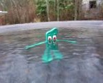 Gumby in pool